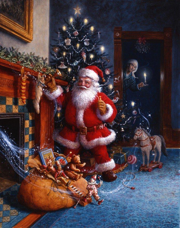 Новогодняя картинка с сантой, печать открыток москва