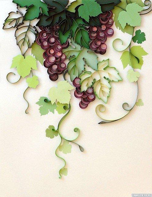 Картинка 496x640 Листья и ягоды винограда выполненные в стиле квиллинг | Тэги: Виноград | Квиллинг