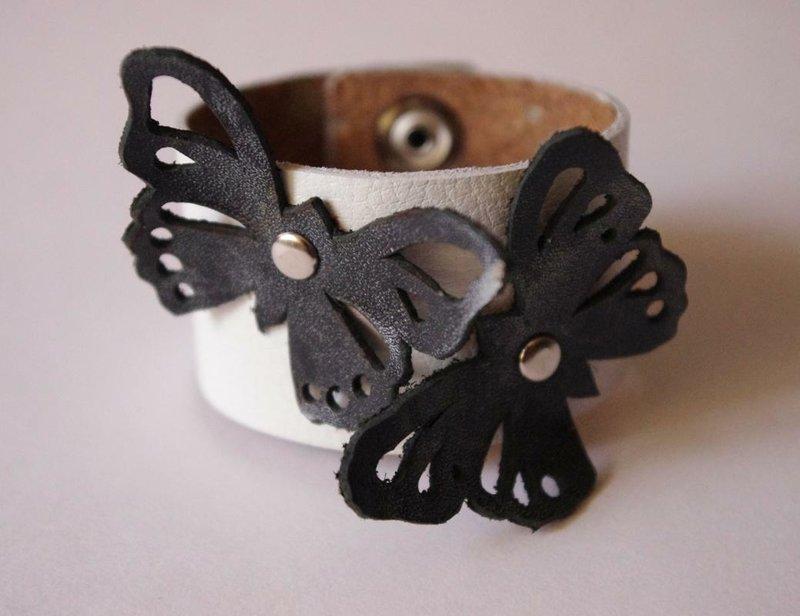 Кожаный hand-made браслет с бабочками   Её сайт! :-)