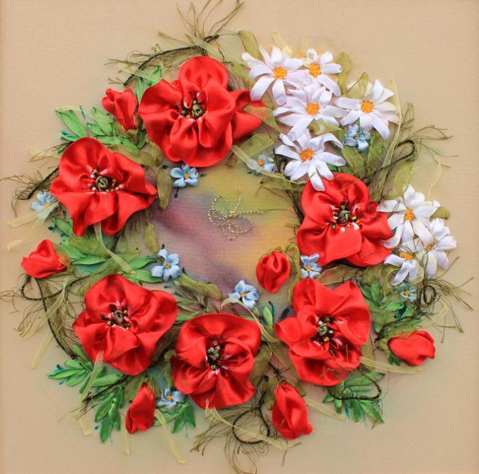 красивые цветы лентами