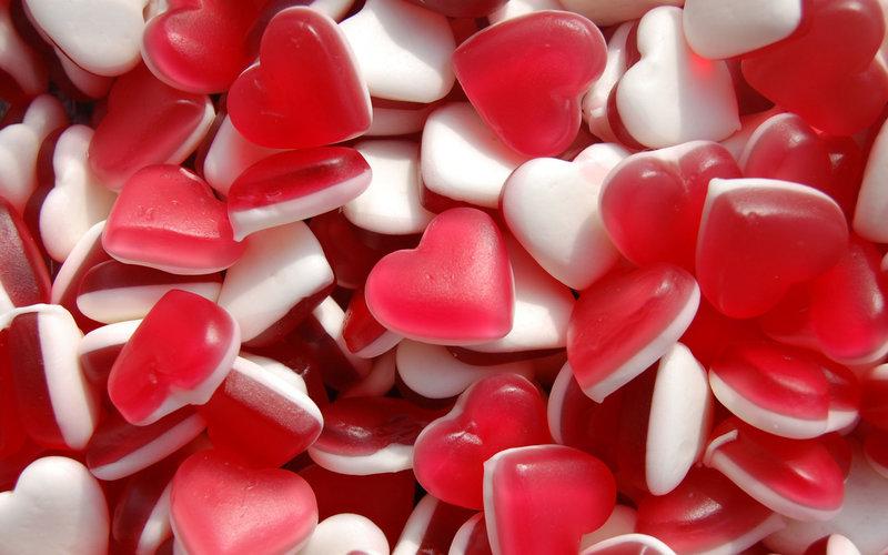 Обои еда, сердечки, мармелад, белый, красный