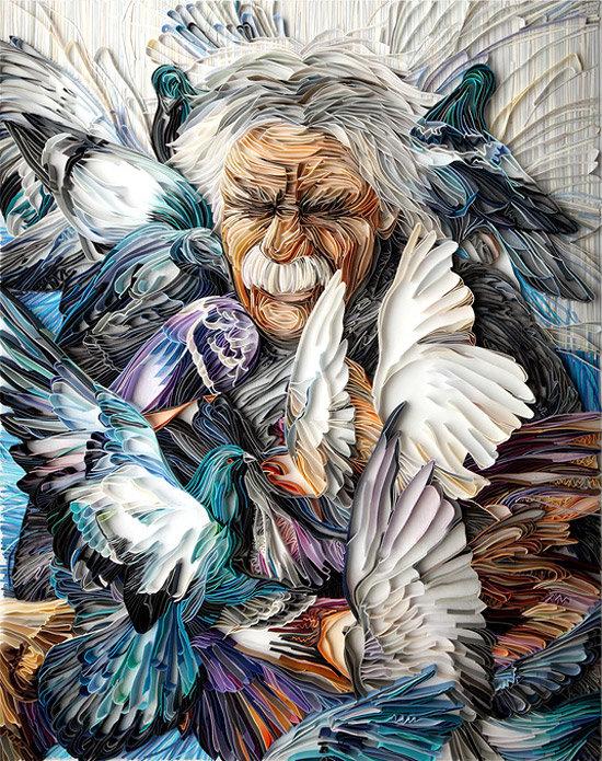 портрет c голубями квиллинг