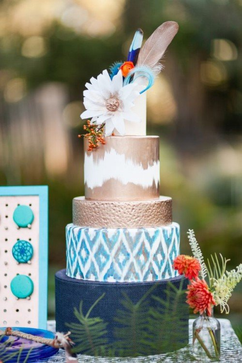24 Delicious And Beautiful Boho Chic Wedding Cakes - Weddingomania