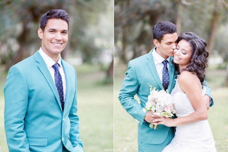 Яркий цветной костюм жениха.