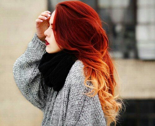 красота, девушка, волосы, омбре, красный, стиль