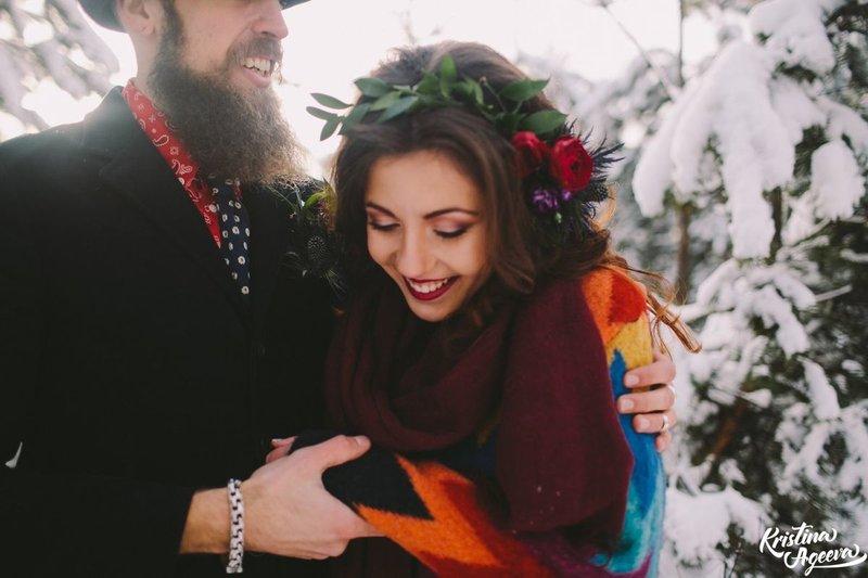 оформление зимней богемной свадьбы