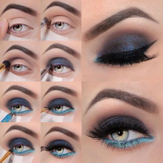 темный макияж для голубых глаз, фото
