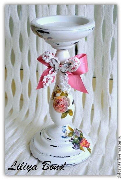 """Подсвечник """"Розовая симфония"""" - освещение,подсвечник,шебби шик,розы,винтаж"""