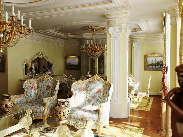 Гостиная в стиле барокко – настоящая находка для ценителей искусства. Именно в барочном интерьере можно полностью раскрыть скрытые таланты декоратора.