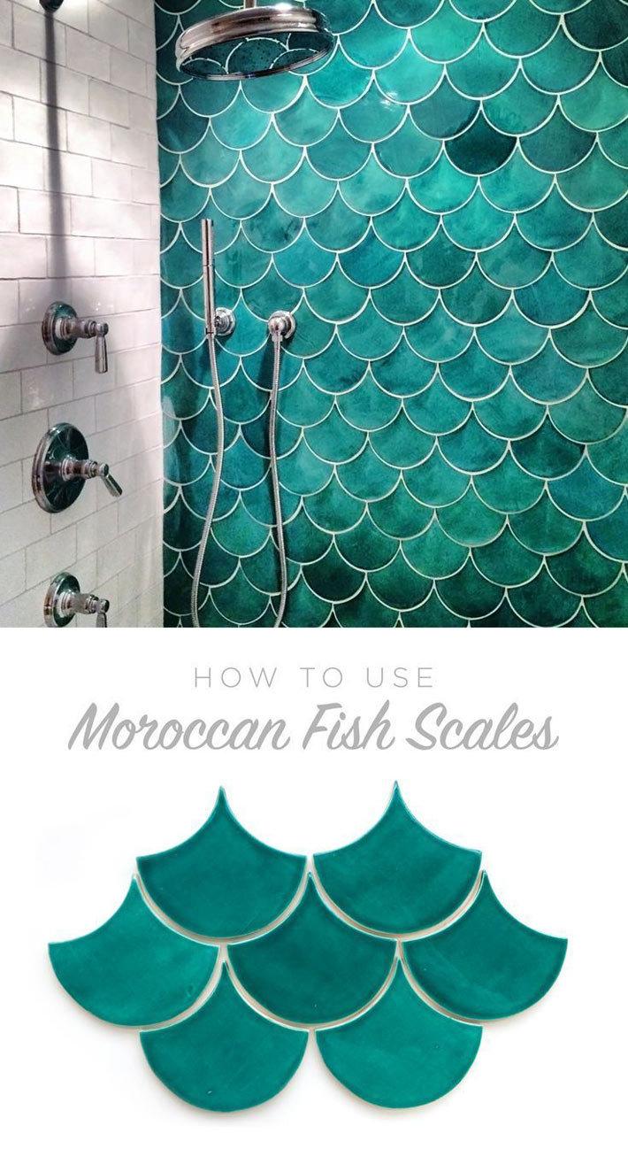 плитка рыбья чешуя в интерьере ванной