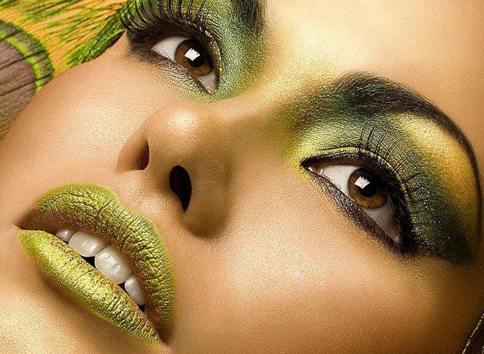 макияж в желто-зеленых тонах в новый год