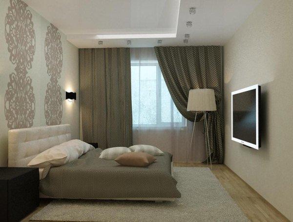 дизайн комбинированные обои для спальни фото