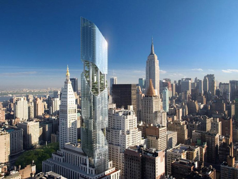 Небоскреб Нью-Йорка также известный как One Madison Avenue Tower спроектирован всемирно известным архитектором по имени  Даниэль Либескинд
