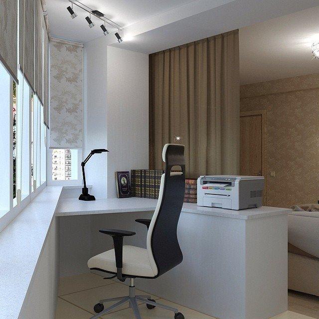 Дизайн рабочего кабинета на месте бывшего балкона