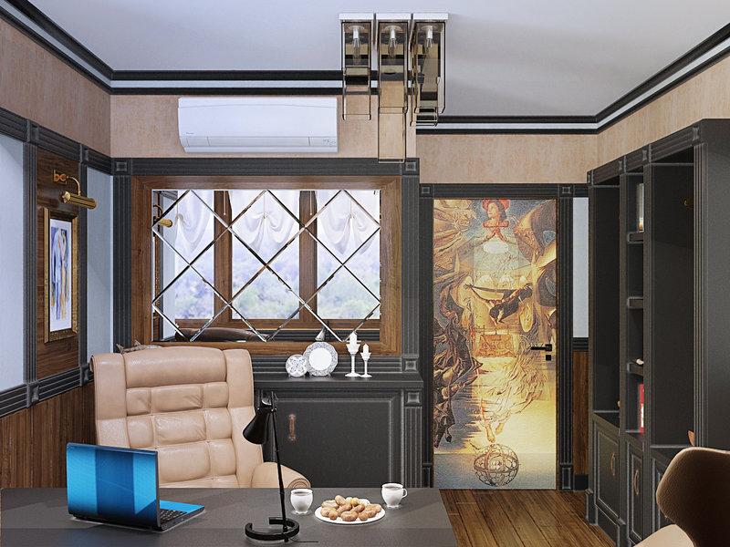 Освещение в домашнем рабочем кабинете должно быть верхним. На стол обязательно поставьте настольную лампу – как источник дополнительного света.