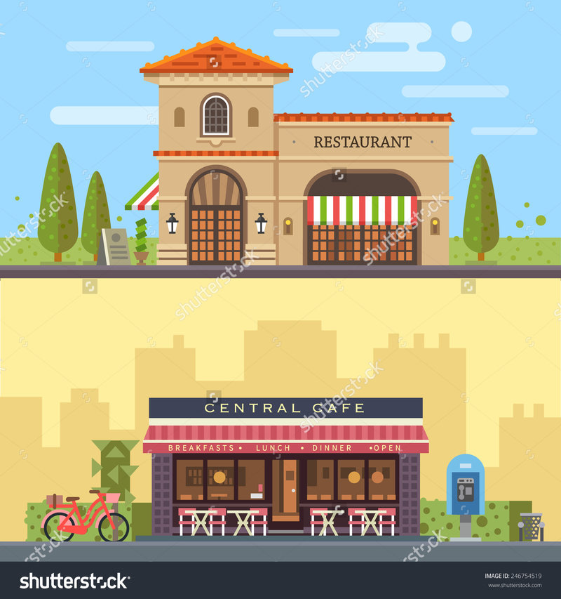 stock-vector-landscape-with-buildings-restaurant-and-cafe-cityscape-vector-flat-illustration-246754519.jpg (1500×1600)