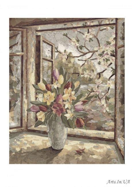 ваза с цветами у окна