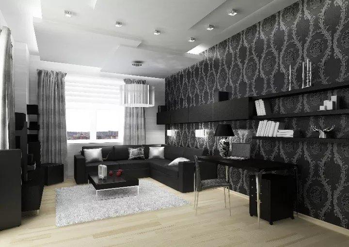 мебелью белой гостиной с дизайн фото черно