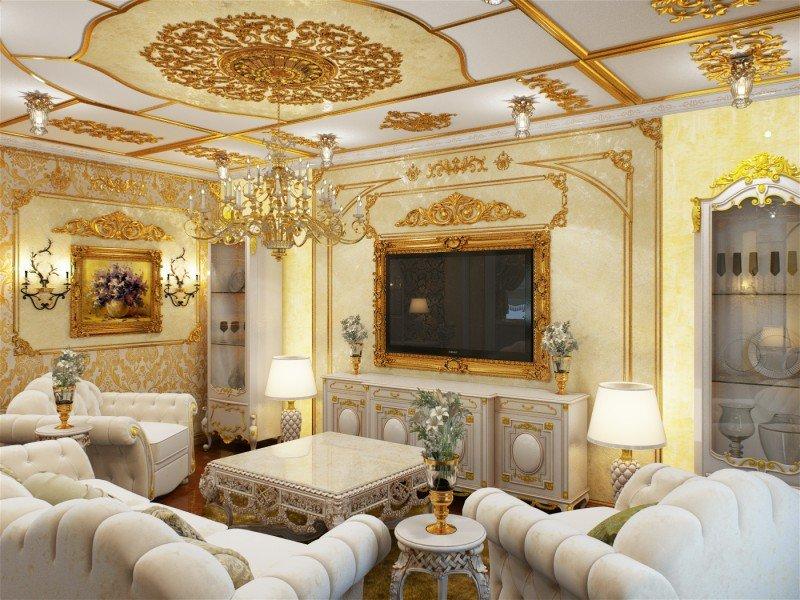 Белая мебель в песочно-золотом дизайне интерьера