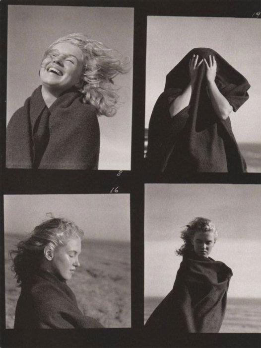 Снимки, сделанные на одном из пляжей Малибу.   16 чёрно-белых фотографий 20-летней Мэрилин Монро на пляже в Малибу  В 1945 году, в то время, когда Норма Джин Догерти ещё не была Мерилин Монро, она встретила фотографа Андре де Дейниза. Их встреча переросла в бурный роман. Позже де Дейниз уверял, что уже в то время в неё была звёздная искра. Впрочем, это прекрасно видно в серии чёрно-белых фотографий, которые были сделаны влюблённым фотографом на пляже в Малибу. Мэрилин совершенно не накрашена, немного грустная, но такая настоящая и прекрасная.  Источник: http://www.kulturologia.ru/blogs/070416/29076/