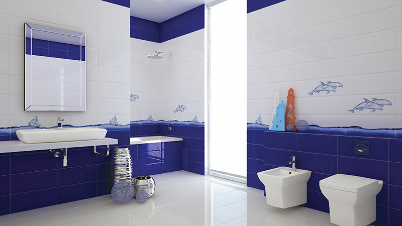 фото ванна бело-синяя