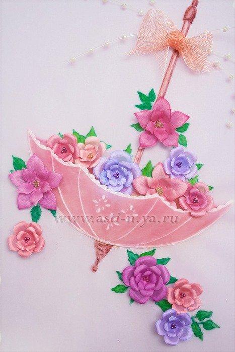 Новый, открытка зонт с цветами