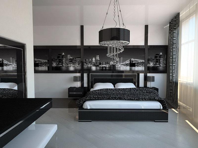 Спальная комната в стиле хай-тек