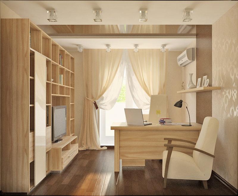 Дизайн домашнего кабинета,  в бежевом цвете мебели.