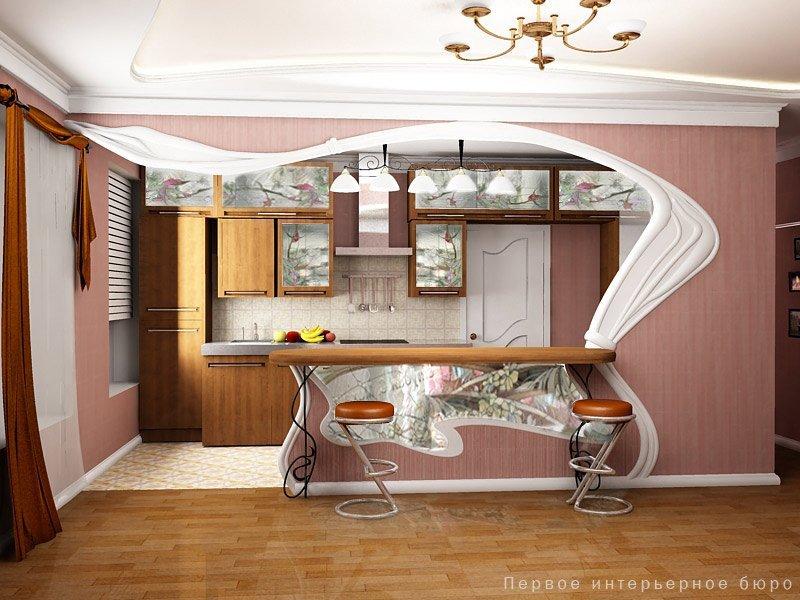 Справочник кухня совмещена с залом дизайн питания линии Рига