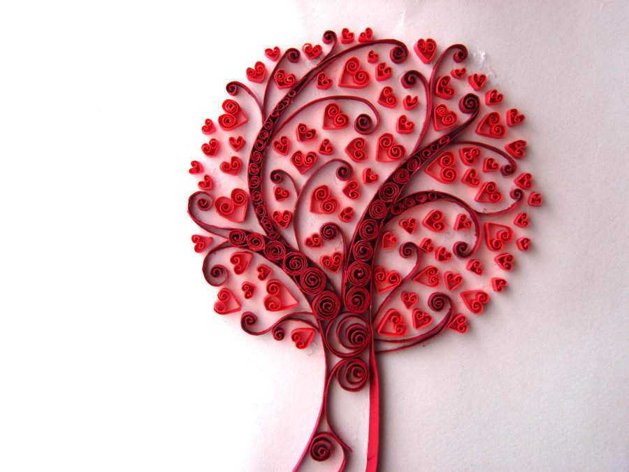 Сделать, открытки дерево с сердечками своими руками
