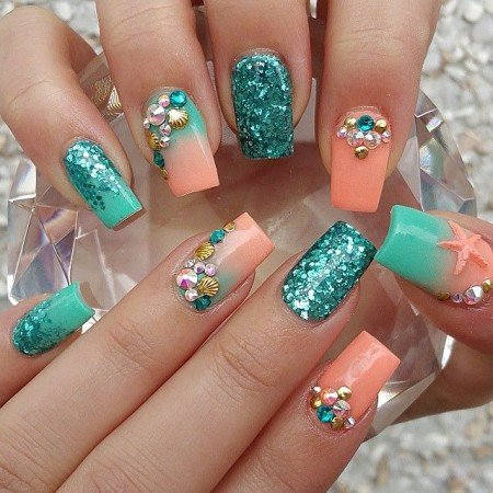 Дизайн ногтей зеленый с оранжевым фото
