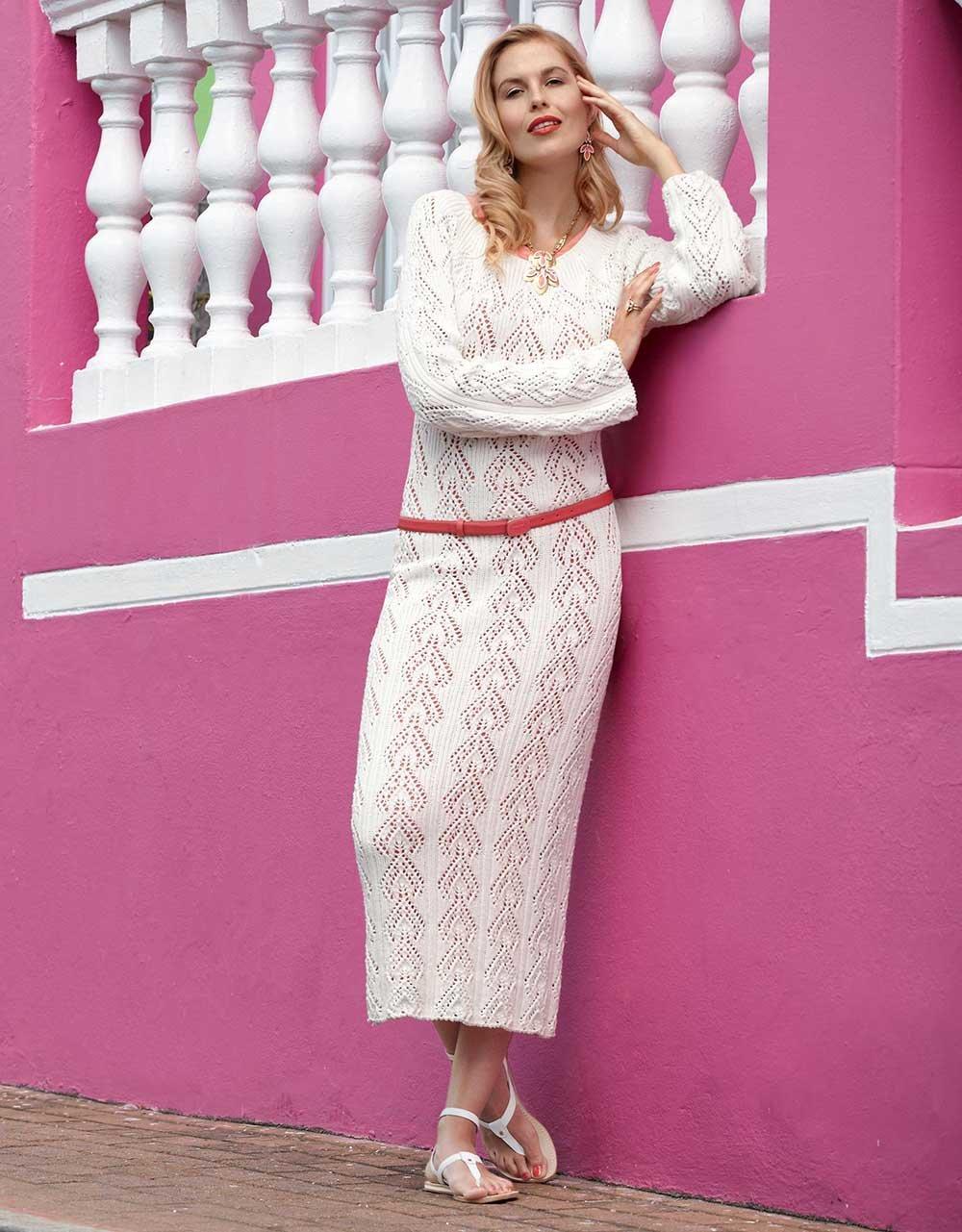 садовом дизайне платье вязаное белое схемы и фото выбрать