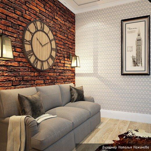 Кабинет в частном доме с удобным диваном