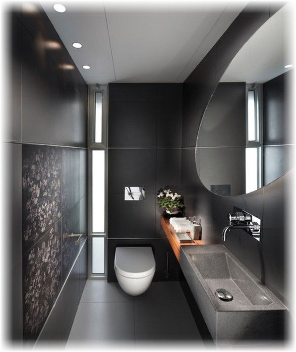 Черный цвет ванной комнаты