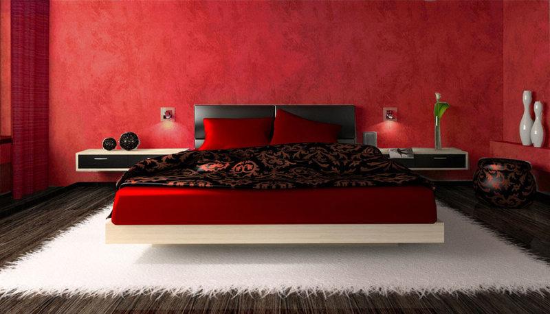 Спальня в красном цвете дизайн