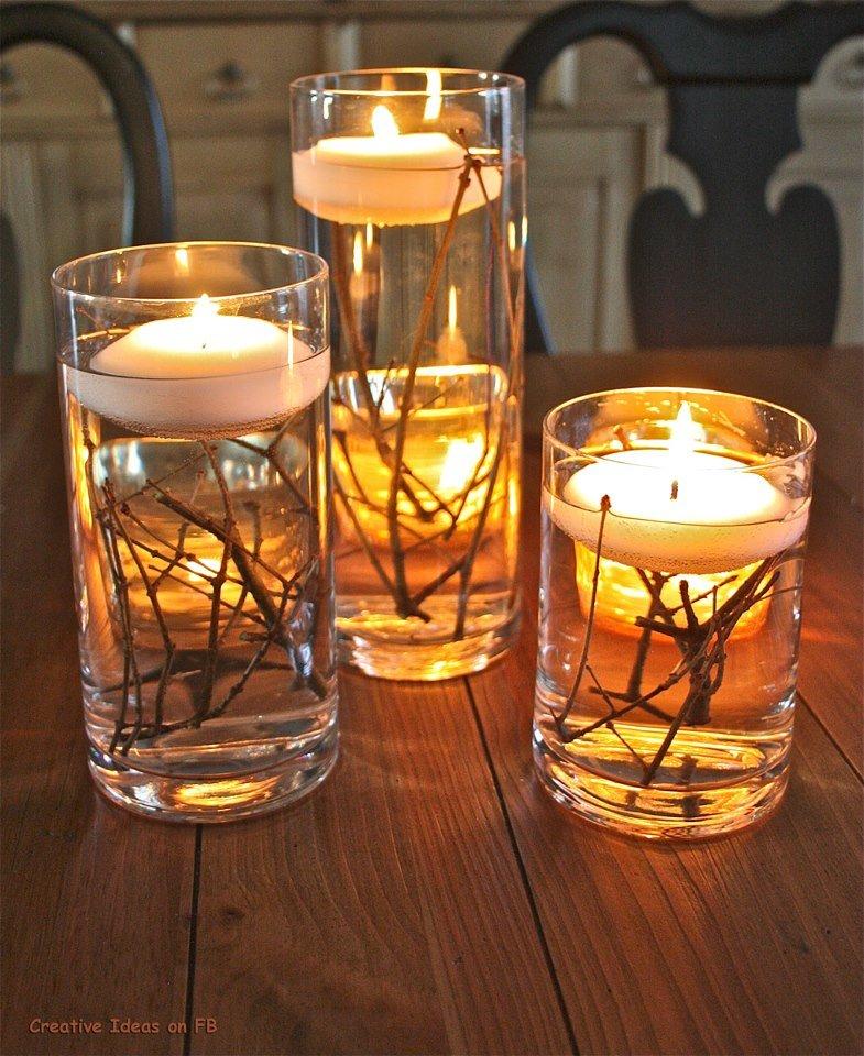 Свечи в вазах