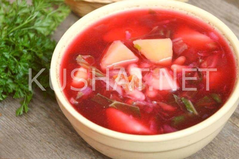 Красный борщ с фасолью рецепт с фото