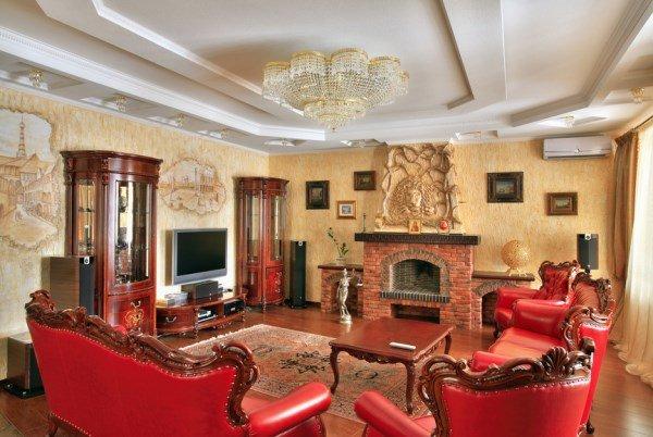 Викторианский стиль в интерьере.  Интерьер современной гостиной в викторианском стиле.