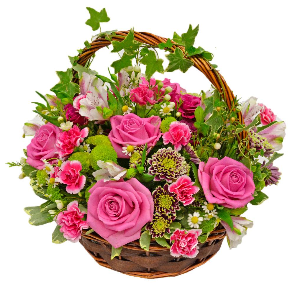 Поздравление лет, открытки с корзинками роз