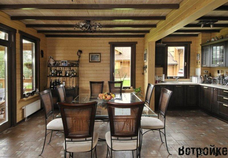 Современная кухня в деревянном доме. Интерьер деревянных домов