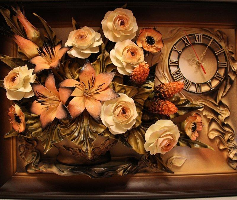 Картина розы из полимерной глины