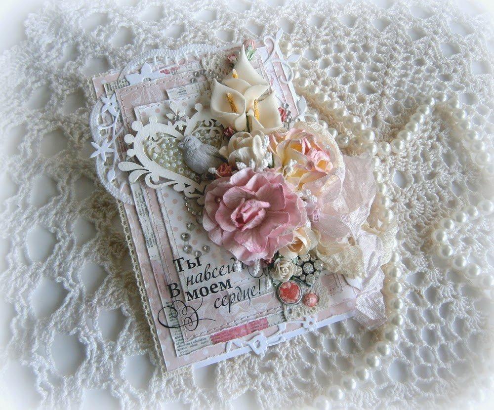 Открытка, открытки с кружевом и цветами
