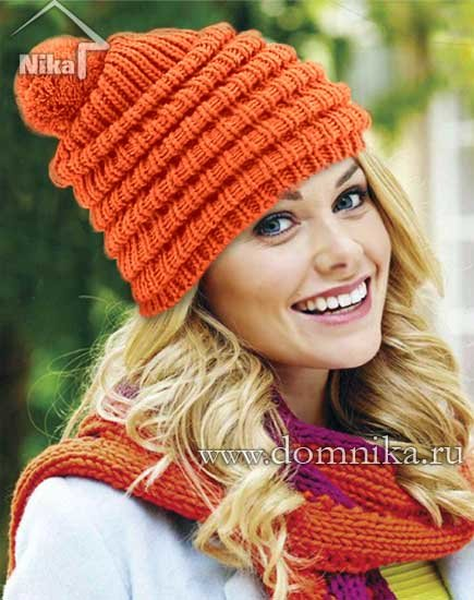 цвета вязанная шапка оранжевого
