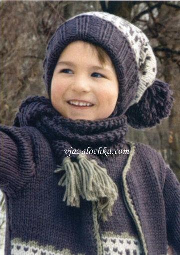 синий шарф вязание спицами вязание для детей шапка с помпоном на