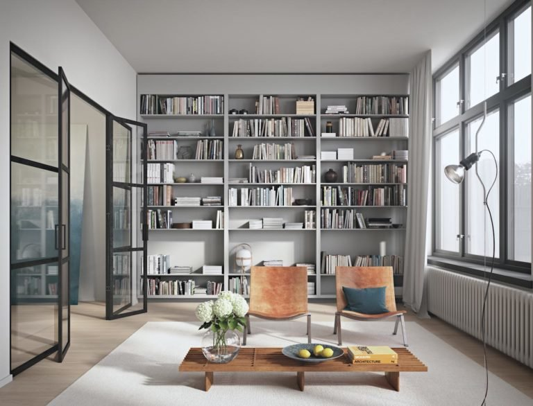 Смотреть картинки гостиной с книжными стеллажами