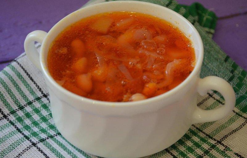 Борщ фасолью рецепт фото пошагово