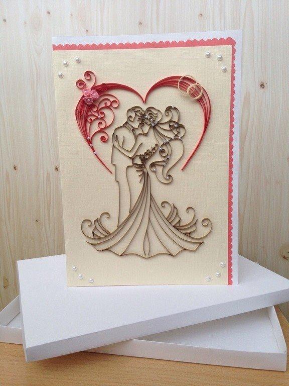 Квиллинг открытки своими руками на свадьбу