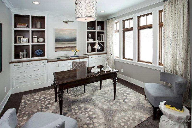 Стильные и современные примеры оформления домашнего кабинета на фото. Варианты обустройства домашнего офиса. Интерьер и дизайн рабочего места в комнате.