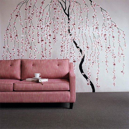 декор обоями комбинирование стен фото