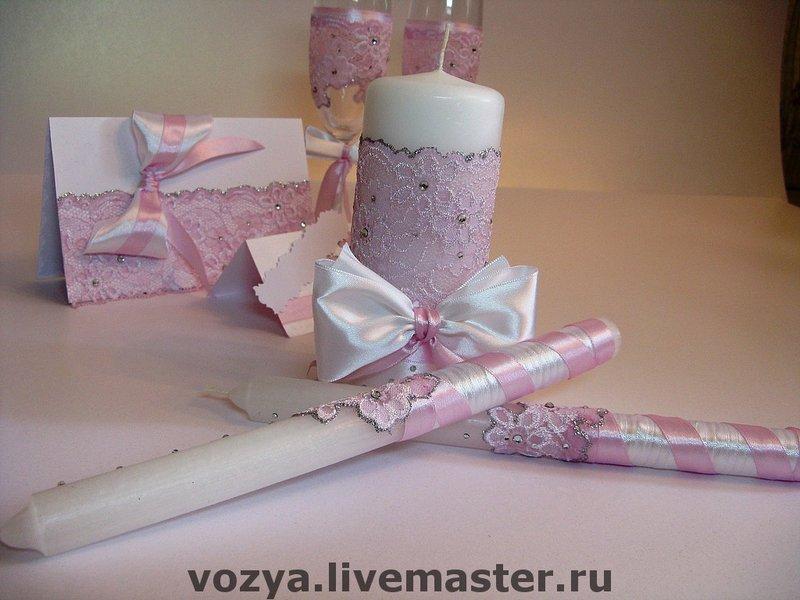 нежно розовый декор свечи